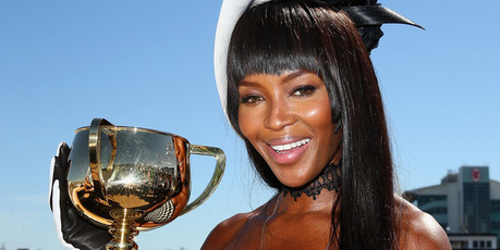 Supermodel Naomi Campbell (with the Cup) will head for Flemington.  Photo / Getty Images