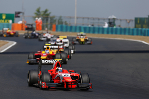 Mitch Evans tests for the GP2 team Russian Time at the Yas Marina circuit in Abu Dhabi this week. Picture / GP2 Media