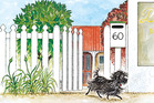 Out the gate and off for a walk went Hairy Maclary from Donaldson's Dairy. Illustration / Lynley Dodd