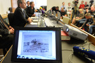 An artwork of Antonio Canaletto is shown on a computer screen during a news conference in Augsburg, southern Germany, on the art found in Munich. Photo / AP