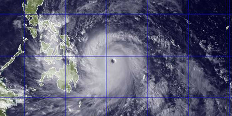 This image provided by the U.S. Naval Research Lab shows Typhoon Haiyan.