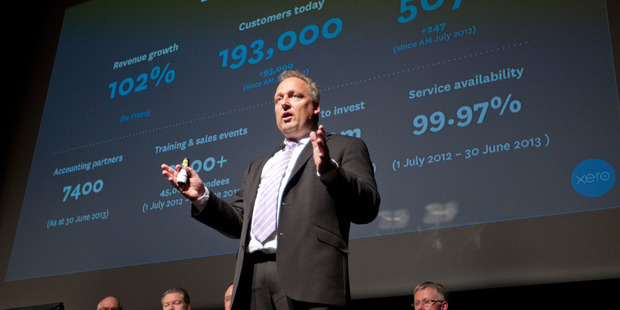 Xero chief executive and founder Rod Drury presenting at the accounting software company's annual meeting in Wellington earlier this year. Photo / Mark Mitchell