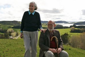 Pierre and Jackie Chatelanat on their Atiu Creek Farm situated on the Kaipara Harbour. Photo / Bruce Tupp