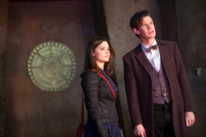 Actors Jenna-Louise Coleman and Matt Smith in an episode of Doctor Who.