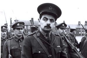 Rowan Atkinson as Captain Edmund Blackadder in the television series Blackadder Goes Forth.