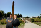 Pole carver Hugh Tareha, Pat Whitesell from the Hawke's Bay Regional Council at the opening of the Harakeke walkway.Photo / Paul Taylor
