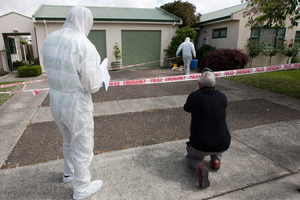 Police at the scene of a sexual attack on an elderly lady in Ikanui Road, Hastings. Photo / Glenn Taylor