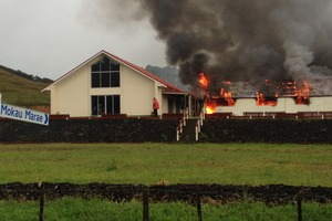 Te Uri o Hikihiki Marae at Mokau on fire