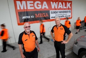 MEGA-PREP: Mitre 10 Mega Hastings retail manager Dave Ransom (left) and general manager Elwyn McGoram and staff prepare for their day in the Hastings sun tomorrow, with a parade of hopefuls for the sixth Megawalk. The more energetic of the staff hope 1200 similarly-minded folk will join the Hastings-to-Napier run/walk, the most strenuous 28km exercise starting at the Hastings branch at 7.30am, proceeds going to CanTeen. PHOTO/GLENN TAYLOR HBT134253-01