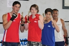 HANDS UP: Kaeo Boxing Club members Zander Kriel, Blake Hodges and Kyle Chen all won their respective bouts in a boxing tournament in Rotorua over the weekend. PHOTO/MANDY HODGES