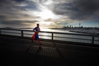 How Rob Cox imagined he looked in the half marathon. Photo / Brett Phibbs