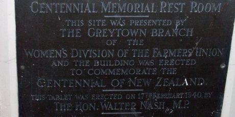 The memorial restroom building plaque in Greytown.