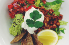 Little Bird's raw Mexican feast with sour cream and guacamole. Photo / Supplied