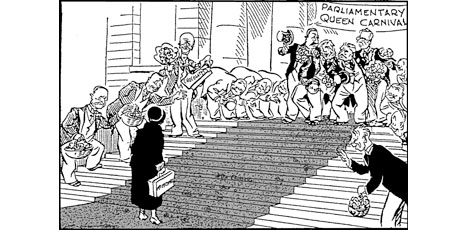 How cartoonist Gordon Minhinnick saw her election to Parliament. (NZ Herald Archives)