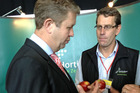 David Cunliffe with Horticulture NZ chief executive Peter Silcock at the Labour Party Conference. Photo / Audrey Young