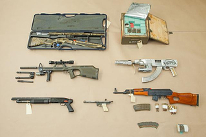 The weapons cache seized bythe Organised & Financial Crime Agency New Zealand.