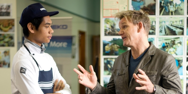 Antony Su'a met Gordon Ramsay when he visited Papakura High School. Photo / Dean Purcell