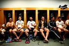 All Blacks (from left) Aaron Cruden, Ben Smith, Ryan Crotty, Owen Franks, Tom Taylor and Tawera Kerr-Barlow relax in the dressing room after yesterday's match in Paris. Photo / Getty Images
