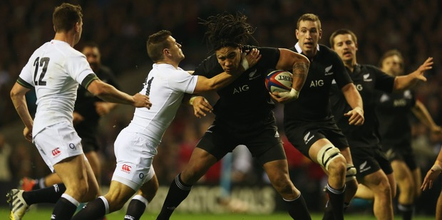 Ma'a Nonu of New Zealand is tackled by Danny Care of England during the QBE International match between England and New Zealand at Twickenham 2012. Photo / Getty Images