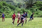 Hideaway Hurricanes players go through their training paces in tough conditions in Fiji. Photo / Peter White