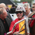 Anthony Butt driver of Sundown In Paris, is congratulated by an owner after winning the Cromwell Lake Dunstan Handicap Trot race during New Zealand Trotting Cup Day. Photo / Getty Images