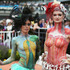 Pearl Babington, left, winner of the ArtWear section and Bailey Kennedy winner of the BodyArt Fashion during New Zealand Trotting Cup Day at Addington Raceway. Photo / Getty Images