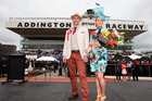 Peter Grooby, Best dressed Man and Claire Foley, Best dressed Lady during New Zealand Trotting Cup Day at Addington Raceway. Photo / Getty Images