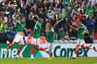 Paul Aguilar of Mexico celebrates with his teammates after their win over the All Whites. Photo / Getty Images