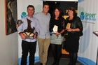 Sportsperson of the Year Blair Tuke (second from left) with his parents Andy and Karin and supporter Lynda Hurley. Photo / Alan Watkins