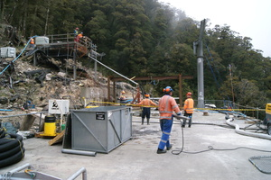 Solid Energy crew on the vent shaft platform, preparing for the first helicopter-lifted load of concrete.