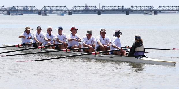 Former Tauranga Rowing Club members looked cohesive on the water during their anniversary row.