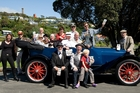 READY TO ROLL: The Vintage Weekend was launched in style at the Whanganui Riverboat Centre on Saturday with Mayor Annette Main, councillors and other friends of the event getting into the vintage spirit. PHOTO/RAE CLIFFE 091113WCRCVINTAGECARS02
