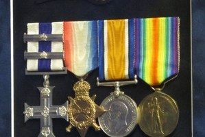 Alfred Youdale's medals. The rare Military Cross with Two Bars is on the left.