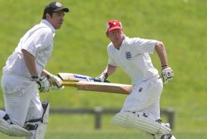 Eastern Pirates batsmen John Wiringi (left) and Scott Martin pick up a run against Rotorua Indians in the Rotorua/Taupo reserve grade cricket competition on Saturday. Photo / Stephen Parker.