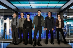 Karl Urban and Michael Ealy (centre) star as a future cop and his android sidekick in Almost Human.