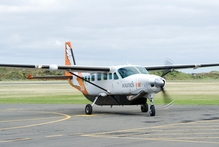 One of Sound's Air's Cessna Caravans arrives at Wanganui Airport yesterday.