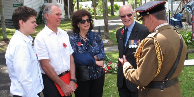 Youdale family members (from left) Nikolaus Youdale, great-nephew Philip Youdale and Clarissa Budimir, with Defence Force medals adviser Jack Hayes and British High commission representative Lieutenant Colonel Tim Woodman.