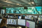 The control room at the Joint Transport Operations Centre at Smales Farm on Auckland's North Shore.