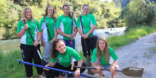 Chelsi Williams (left) Courtney Williams, Hayley Dangen and Suzy Cummings standing behind Paris Taniwha and Kaydi O'Connor Stratton.