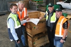 Compac regional manager Craig Hart, grower Neil Magnus, and EastPack's Kerry McCree and Bruce Youngman discuss plans for the new optical grading systems. Photo / Supplied