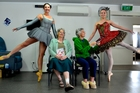 Ballerinas Laura Jones, left, and Hayley Donnison, with Glengarry Rest Home residents Sylvia Turner and Mary Katae. Photo / Tonia Looker