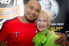 Adelaide Tucker was there as David Tua had the official weigh-in for the fight. Photo / Christine Cornege
