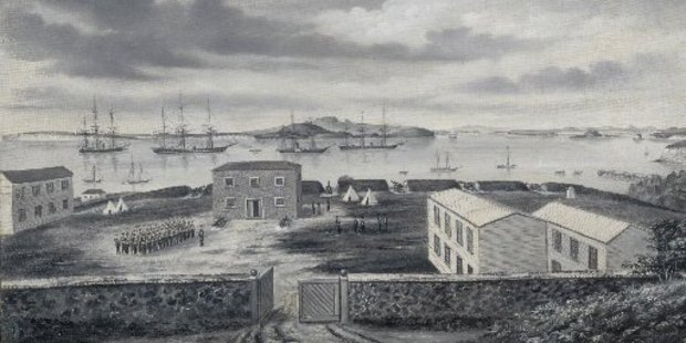 Fort Britomart and the Auckland Harbour, 1863.