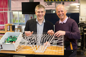 Professor Grant Covic, left, and Professor John Boys of Auckland University have won this year's prize for engineering wireless charging technology for electric cars and other devices.