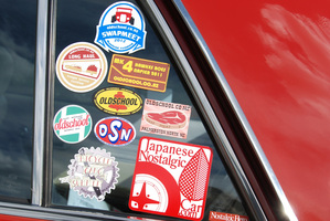 Datsun 260C's original stickers.  Photo / Jacqui Madelin