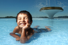 Tukotahi Rapana, 4, cools off in the fountain at Memorial Park.
