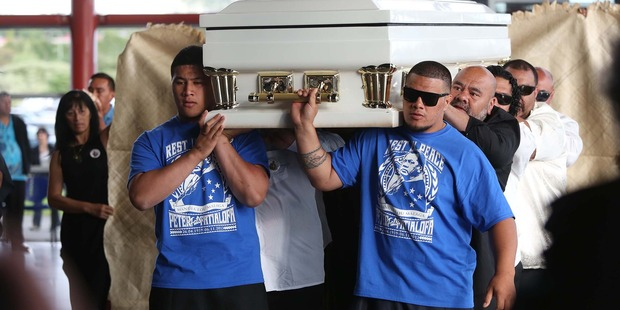 Peter' Fatialofa's coffin being brought in for a memorial service in Manukau. Photo / Chris Loufte