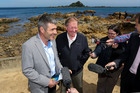 Minister of Conservation, Dr Nick Smith, and Minister for Primary Industries, Nathan Guy, talk to media about the release of the Government's plan to ban shark finning. Photo / Hagen Hopkins