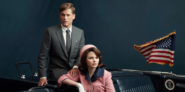 Rob Lowe as President John F. Kennedy and Ginnifer Goodwin as Jackie Kennedy in 'Killing Kennedy'.