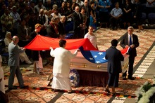 The Manu Samoan flag is draped over Samoan rugby legend Peter Fatialofa's coffin during his funeral on Wednesday. Photo / Brett Phibbs